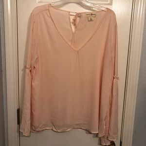 Blush pink bell sleeve blouse